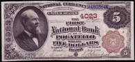 National Currency Series 1882 $5.00 Brownback. First National Bank Pocatello Idaho Charter 4022