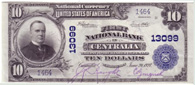 National Currency Series 1902 Blue Seal. First National Bank Centralia Washington Charter 13099