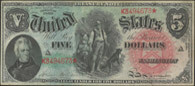 1869 $5.00 Legal Tender Rainbow Woodchopper