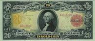 1905 $20 Dollar Bill Gold Certificate Technicolor