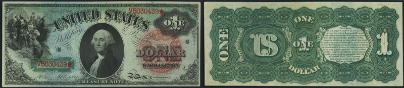 Series 1869 $1.00 Legal Tender Rainbow