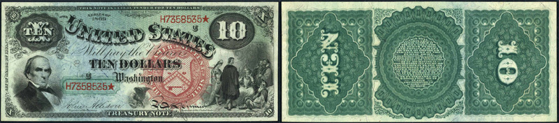 Series 1869 $10.00 Legal Tender Rainbow Jackass