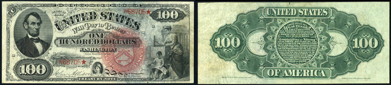 Series 1869 $100.00 Legal Tender Rainbow