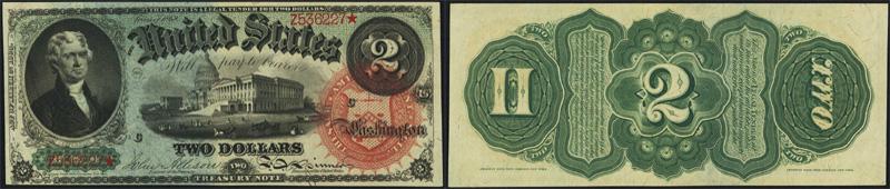 Series 1869 $2.00 Legal Tender Rainbow