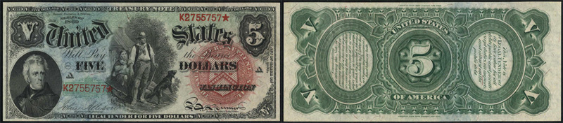 Series 1869 $5.00 Legal Tender Rainbow Woodchopper