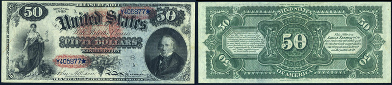 Series 1869 $50.00 Legal Tender Rainbow