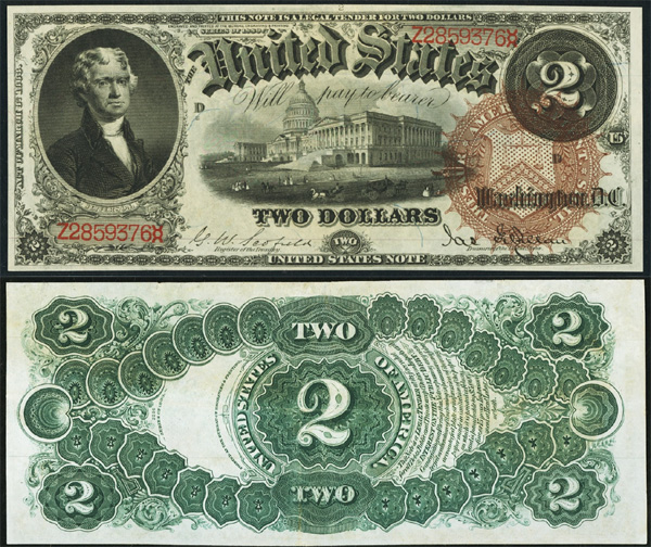Series 1880 $2 Legal Tender Bill