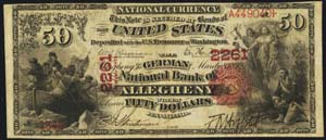 Frederick County National Bank of Frederick (1449) Fifty Dollar Bill Series 1875