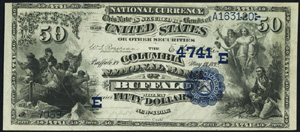First National Bank of San Francisco (1741) Fifty Dollar Bill Series 1882 Dateback and Valueback