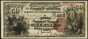 New Albany National Bank, New Albany (775) Fifty Dollar Bill Series 1882 Brownback