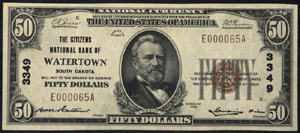 Miners National Bank of Pottsville (649) Fifty Dollar Bill Series 1929
