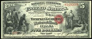 National Shoe and Leather Bank of The City of NY (917) Five Dollar Bill Original Series