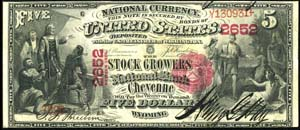 Merchants National Bank of West Virginia, Clarksburg (1530) Five Dollar Bill Series 1875