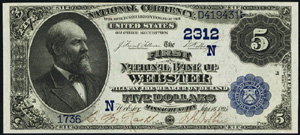 Montgomery County National Bank of Cherryvale (4749) Five Dollar Bill Series 1882 Dateback and Valueback