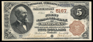 Columbian National Bank of Boston (1029) Five Dollar Bill Series 1882 Brownback