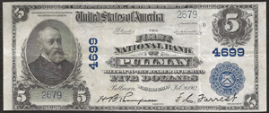 Jacksonville National Bank, Jacksonville (1719) Five Dollar Bill Series 1902 Blue Seal