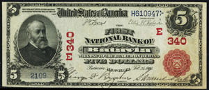 First National Bank of Warren (520) Five Dollar Bill Series 1902 Red Seal