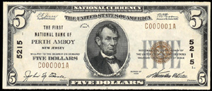 First National Bank of Perth Amboy (5215) Five Dollar Bill Series 1929
