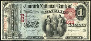 Wickford National Bank, Wickford (1592) One Dollar Bill Series 1875