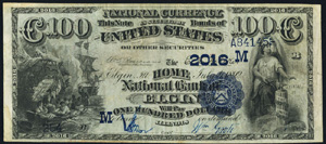 First National Bank of San Francisco (1741) Hundred Dollar Bill Series 1882 Dateback and Valueback