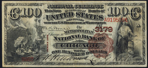 City National Bank of Worcester (476) Hundred Dollar Bill Series 1882 Brownback