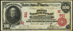 First National Bank of Lindsay (7965) Hundred Dollar Bill Series 1902 Red Seal