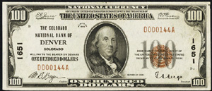 Northern National Bank of Duluth (9327) Hundred Dollar Bill Series 1929