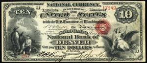 City National Bank of Worcester (476) Ten Dollar Bill Original Series