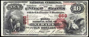 National Shoe and Leather Bank of The City of NY (917) Ten Dollar Bill Series 1875