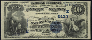 First National Bank of Ridge Farm (5313) Ten Dollar Bill Series 1882 Dateback and Valueback