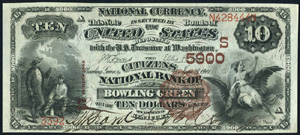 First National Bank of Petty (5569) Ten Dollar Bill Series 1882 Brownback