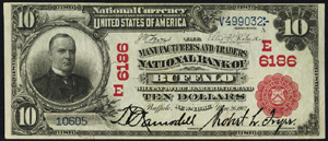 Miners National Bank of Pottsville (649) Ten Dollar Bill Series 1902 Red Seal