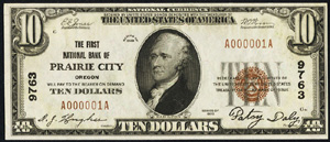 First National Bank of Plainview (5475) Ten Dollar Bill Series 1929