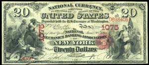 National Shoe and Leather Bank of The City of NY (917) Twenty Dollar Bill Original Series