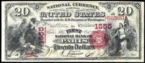 City National Bank of Worcester (476) Twenty Dollar Bill Series 1875