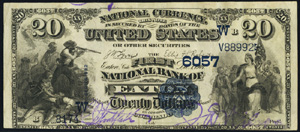First National Bank of Petty (5569) Twenty Dollar Bill Series 1882 Dateback and Valueback