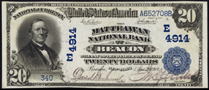 Miners National Bank of Pottsville (649) Twenty Dollar Bill Series 1902 Blue Seal