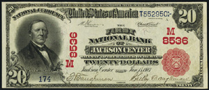Miners National Bank of Pottsville (649) Twenty Dollar Bill Series 1902 Red Seal