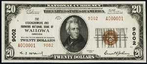 Seven Valleys National Bank, Seven Valleys (9507) Twenty Dollar Bill Series 1929