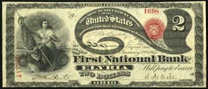 First National Bank of Dayton (9) Two Dollar Bill Original Series