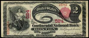 City National Bank of Worcester (476) Two Dollar Bill Series 1875