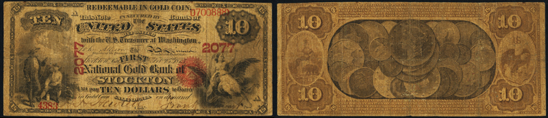 1873 $10.00 National Gold bank note