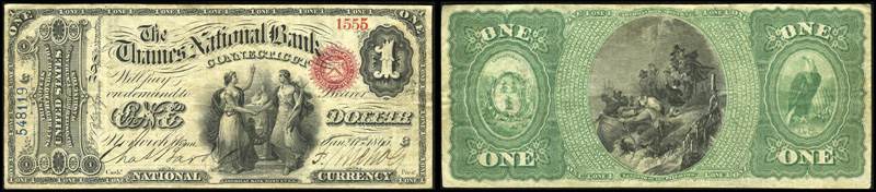 1863 $1.00 Original Series Ace
