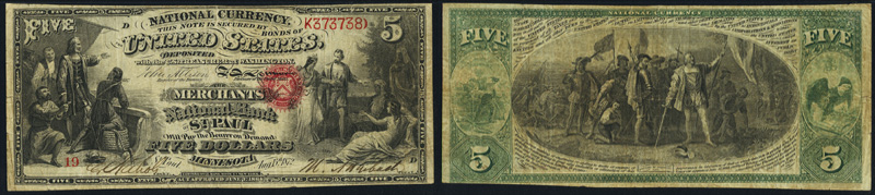 1863 $5.00 National Currency Bank Note