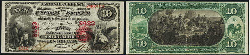 1875 $10.00 National Currency Bank Note