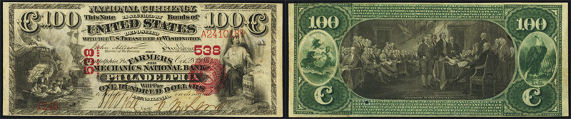 1863 $100.00 National Currency Bank Note