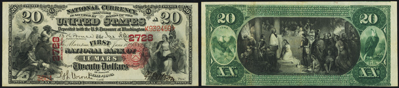 1875 $20.00 National Currency Bank Note