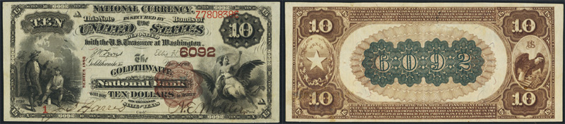 Series 1882 $10.00 Brownback National Currency