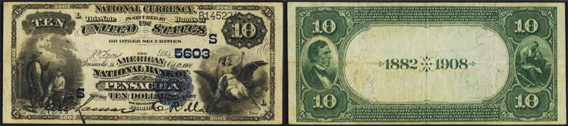 1882 $10.00 Date Back