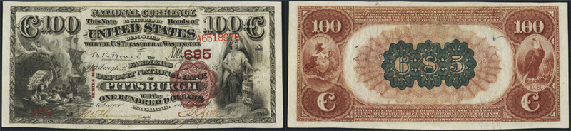 Series 1882 $100.00 Brownback National Currency